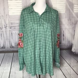 New Rue + size 2X green women's blouse fall floral